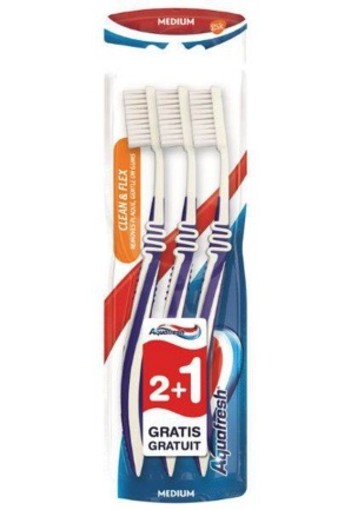 Aquafresh Tandenborstel Clean Flex Medium 3st