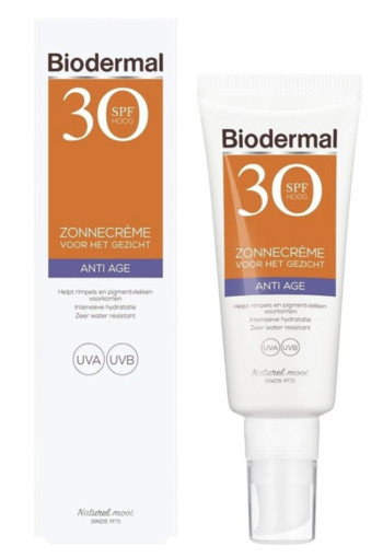 Biodermal Zonnecreme Gezicht Anti Age Factor(spf)30 40 ml